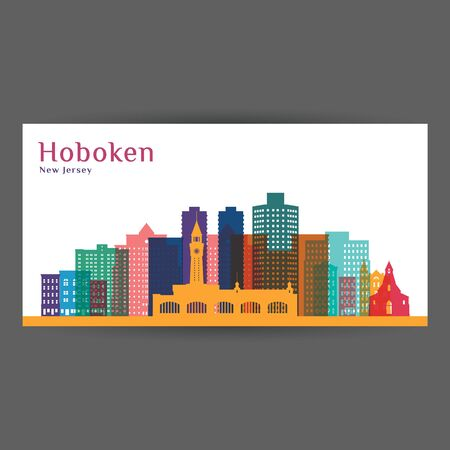 Hoboken city, New Jersey architecture silhouette. Colorful skyline. City flat design. Vector business card.