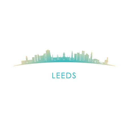 Leeds skyline silhouette. Vector design colorful illustration.