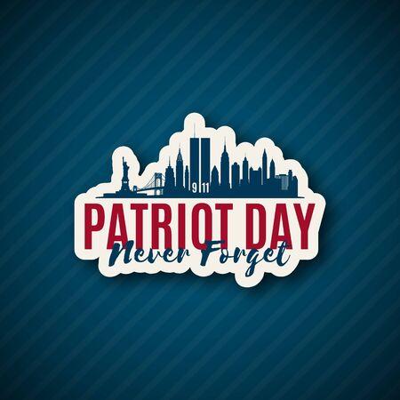 USA Patriot Day 911. New York skyline paper sticker until September 11, 2001. Vector illustration.