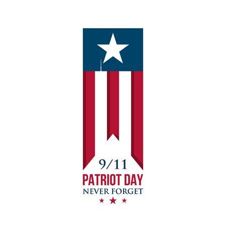 USA Patriot Day ribbon. American national flag symbol. Never forget. Vector illustration.