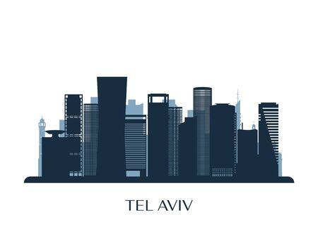 Tel Aviv skyline, monochrome silhouette. Vector illustration.