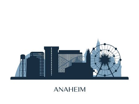 Anaheim skyline, monochrome silhouette. Vector illustration. Çizim