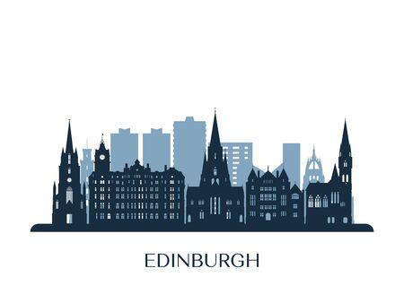 Orizzonte di Edimburgo, silhouette monocromatica. Illustrazione vettoriale.
