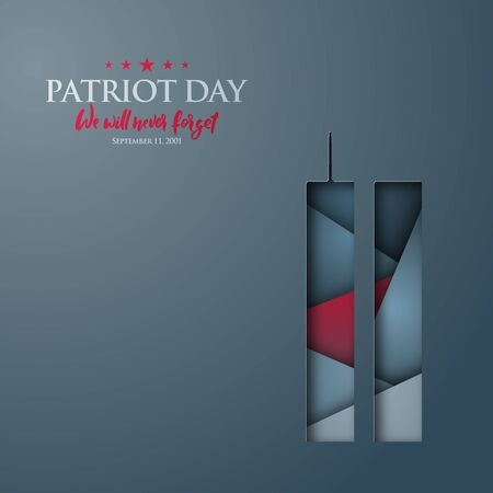 Patriot Day abstract vector banner with World Trade Center silhouette. 11th september Remembrance day design. 向量圖像