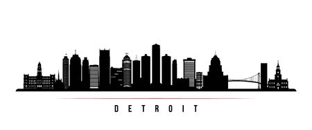 Detroit City skyline horizontal banner. Black and white silhouette of Detroit City, Michigan. Vector template for your design.