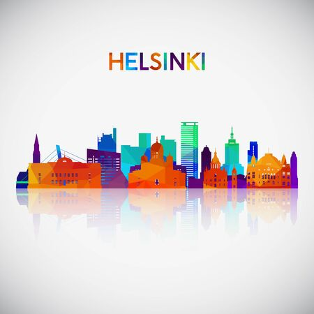 Helsinki skyline silhouette in colorful geometric style. Symbol for your design. Vector illustration.