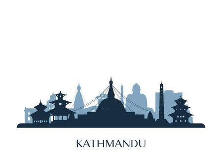 Kathmandu skyline, monochrome silhouette. Vector illustration.