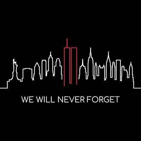 Non dimenticheremo mai lo striscione commemorativo. USA Remembrance day disegno vettoriale.