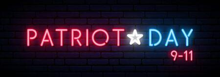 Vector memorial design template. Neon USA Remembrance day vector banner. Illustration