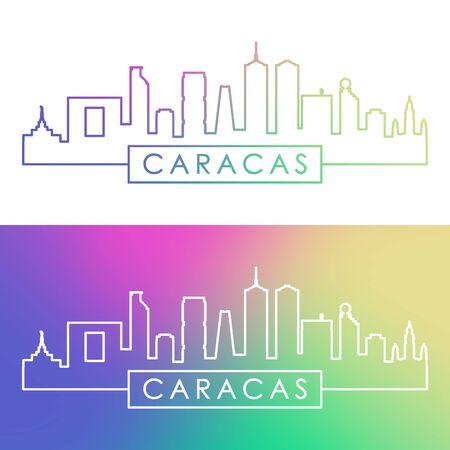Caracas skyline. Colorful linear style. Editable vector file.