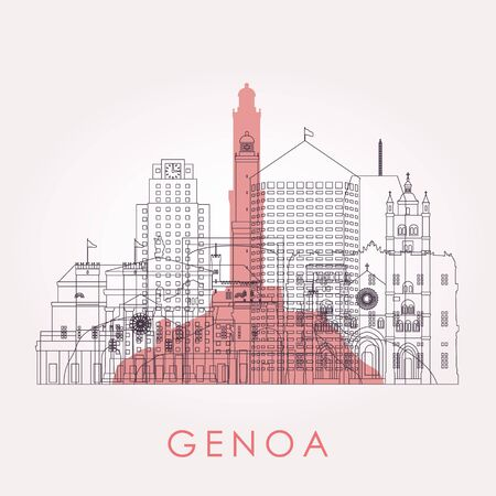 Outline Genoa skyline with landmarks. Vector illustration. Business travel and tourism concept with historic buildings. Image for presentation, banner, placard and web site.