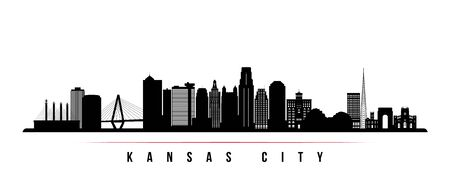 Kansas City skyline horizontal banner. Black and white silhouette of Kansas City, Missouri. Vector template for your design.  Illustration