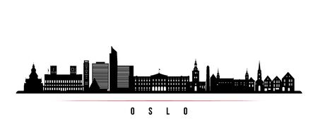 Oslo City skyline horizontal banner. Black and white silhouette of Oslo City, Norway. Vector template for your design.