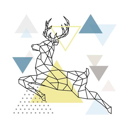 Abstract polygonal deer illustration. Flying Reindeer with side view. Scandinavian style Poster. Vector illustration.