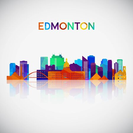 Edmonton skyline silhouette in colorful geometric style. Symbol for your design. Vector illustration. Stock Illustratie
