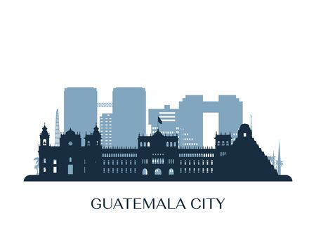 Guatemala city skyline, monochrome silhouette. Vector illustration.