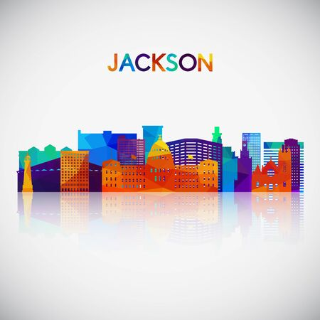 Jackson skyline silhouette in colorful geometric style. Symbol for your design. Vector illustration.