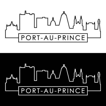 Port-au-Prince skyline. Linear style. Editable vector file.