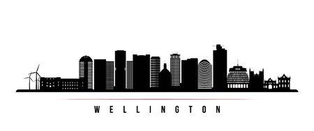 Wellington skyline horizontal banner. Black and white silhouette of Wellington, New Zealand. Vector template for your design.  Иллюстрация