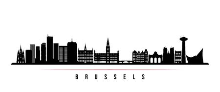 Brussels skyline horizontal banner. Black and white silhouette of Brussels, Belgium. Vector template for your design.
