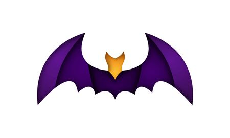 Vector bat illustration in origami style. Paper cut halloween banner.