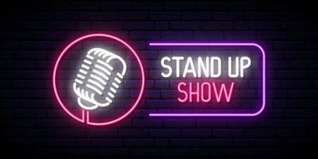 Vector Stand Up Show emblema en estilo neón. Banner de diseño de neón brillante.
