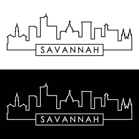 Savannah skyline. Linear style. Editable vector file. Illustration