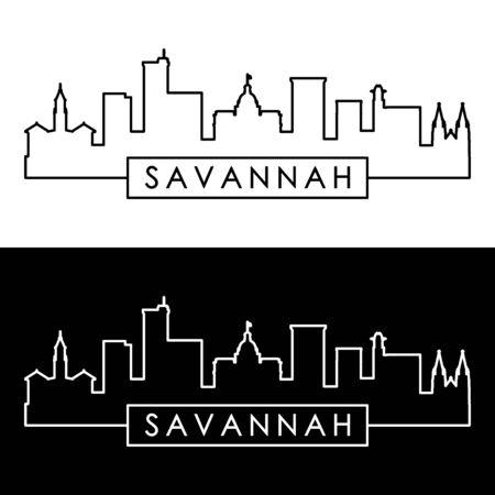 Savanne-Skyline. Linearer Stil. Bearbeitbare Vektordatei.
