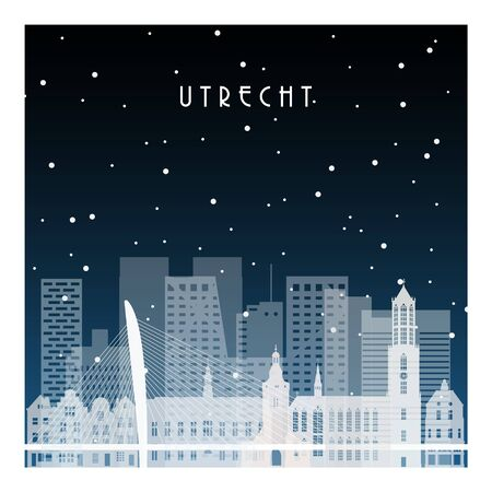 Winter night in Utrecht. Night city in flat style for banner, poster, illustration, background. Çizim