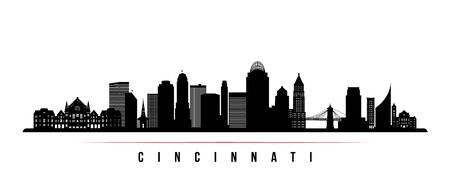 Cincinnati skyline horizontal banner. Black and white silhouette of Cincinnati, Ohio . Vector template for your design.