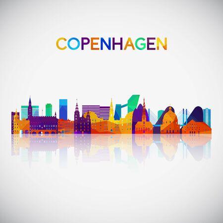 Copenhagen skyline silhouette in colorful geometric style. Symbol for your design. Vector illustration. Иллюстрация