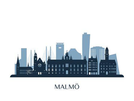 Malmo skyline, monochrome silhouette. Vector illustration.