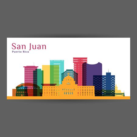San Juan city, Puerto Rico architecture silhouette. Colorful skyline. City flat design. Vector business card.