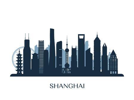 Shanghai skyline, monochrome silhouette. Vector illustration. Ilustração