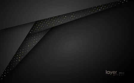 Abstract layered background. Vector geometric banner with paper texture and golden glittering dots.