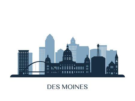 Des moines skyline, monochrome silhouette. Vector illustration. Çizim