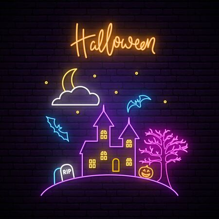 Happy Halloween neon signboard. Vector illustration in neon style.  Halloween design with castle, tree, pumpkin and grave.