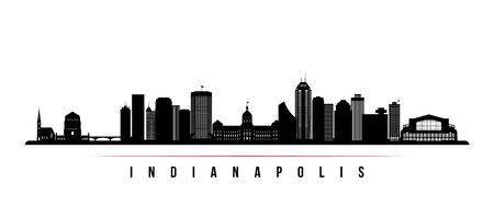 Indianapolis skyline horizontal banner. Black and white silhouette of Indianapolis, Indiana. Vector template for your design.