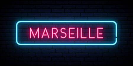 Marseille neon sign. Bright light signboard. Vector banner. Çizim