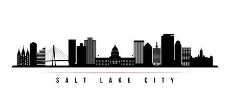Salt Lake City skyline horizontal banner. Black and white silhouette of Salt Lake City, Utah. Vector template for your design.