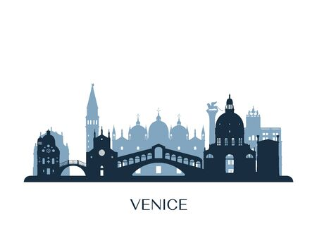 Orizzonte di Venezia, silhouette monocromatica. Illustrazione vettoriale. Vettoriali