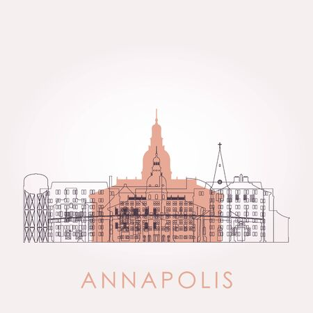 Outline Annapolis skyline with landmarks. Vector illustration. Business travel and tourism concept with historic buildings. Image for presentation, banner, placard and web site.