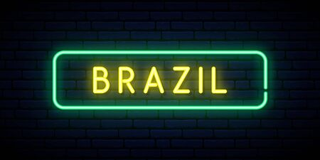 Brazil neon sign. Bright light signboard. Vector banner.