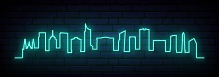 Blue neon skyline of Guadalajara City. Bright Guadalajara City long banner. Vector illustration.