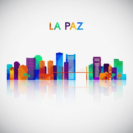 La Paz skyline silhouette in colorful geometric style. Symbol for your design. Vector illustration. 向量圖像