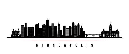 Minneapolis skyline horizontal banner. Black and white silhouette of Minneapolis, Minnesota. Vector template for your design.