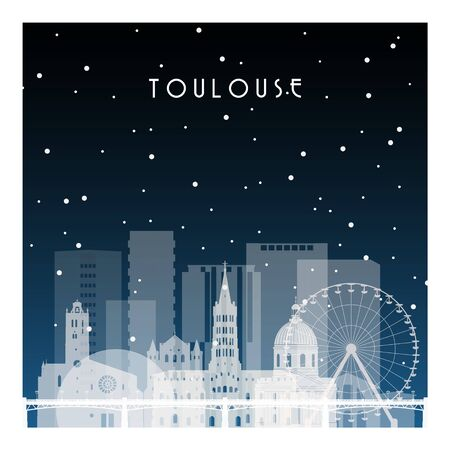 Winter night in Toulouse. Night city in flat style for banner, poster, illustration, background. Çizim