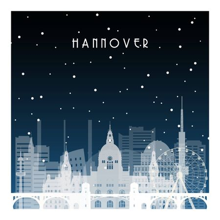 Winter night in Hannover. Night city in flat style for banner, poster, illustration, background. 向量圖像