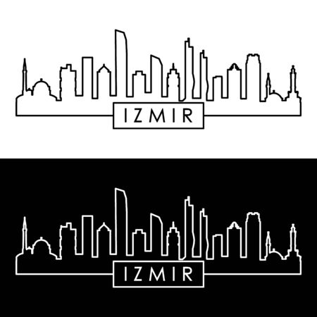 Izmir skyline. Linear style. Editable vector file. Illustration
