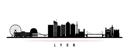 Lyon skyline horizontal banner. Black and white silhouette of Lyon, France. Vector template for your design.